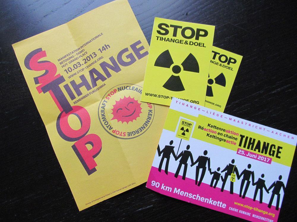 Stop Tihangeのポスターやステッカー ©Michiko KURITA