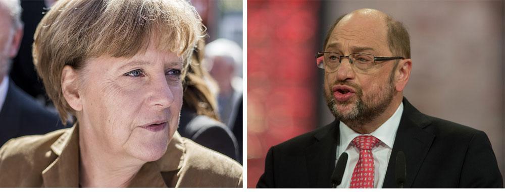 (左)今やポピュリズムに抗う政治家代表のようになったメルケル首相©FNDEFav / (右)あえて連立政権入りを拒否した第二党のシュルツ氏 © Olaf Kosinsky kosinsky.eu