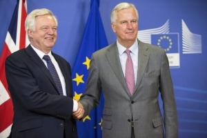 David Davis, on the left, and Michel Barnier
