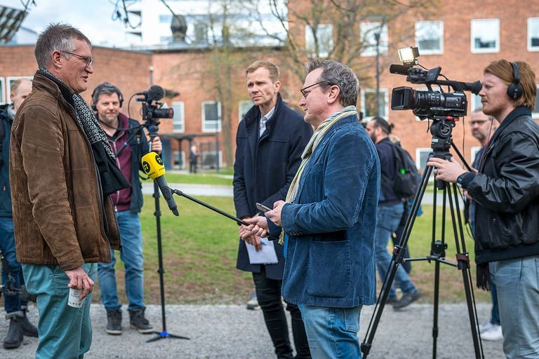 Anders Tegnell during the daily press conference outside the Karolinska Institute.
